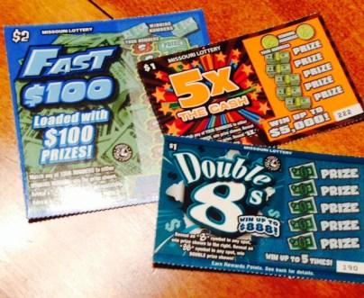 found abundance  money lottery tickets