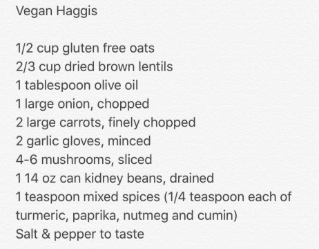Burns Night Dinner featuring vegan haggis