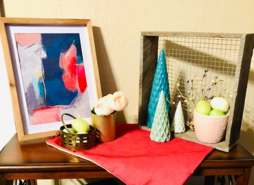 Decorating for Easter with Vintage Pieces and Decocrated shelf top