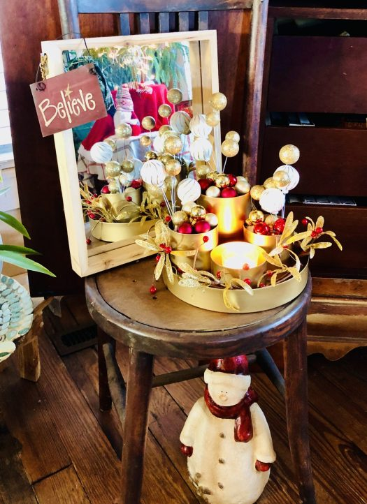Christmas Wonderland with Decocrated gold canister set