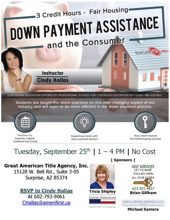 Cindy Hallas Down Payment Assistance CE class West Valley Great American Title