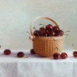 "Nantucket Basket with Cherries • 9"" x 14"" oil on linen panel"