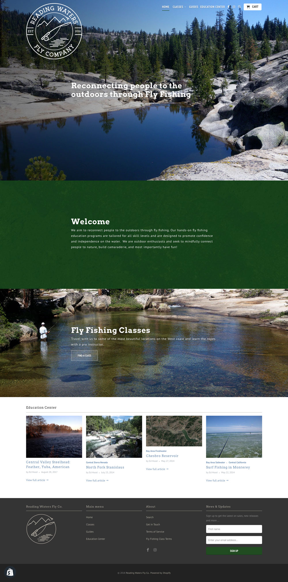 Reading Waters Fly Fishing Website Homepage