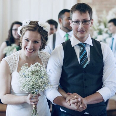 A young bride and groom.