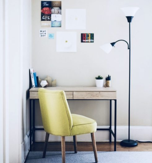 desk, chair and lamp