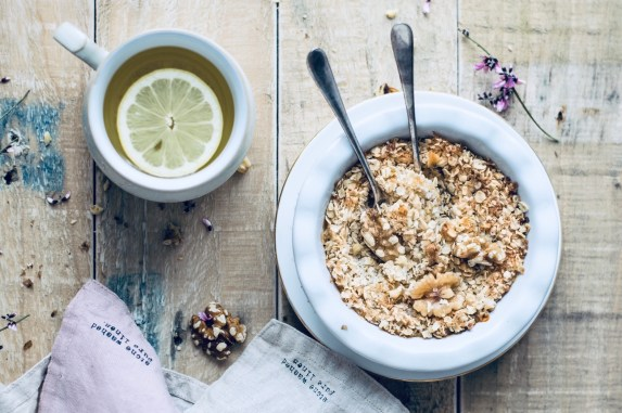 table with oatmeal and tea