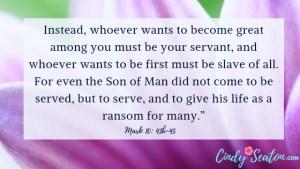 Bible verse Mark 10: 43-45