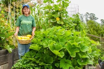 cindy with squash plant in garden, gardening class