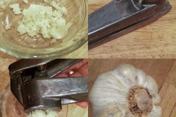 garlic with garlic press
