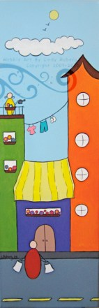 The Shopping Bags: Acrylic on Canvas: 8x24 inches