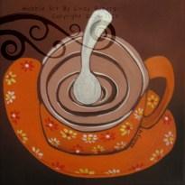 """Orange Cappucino: Acrylic on Canvas, 8x8"""""""