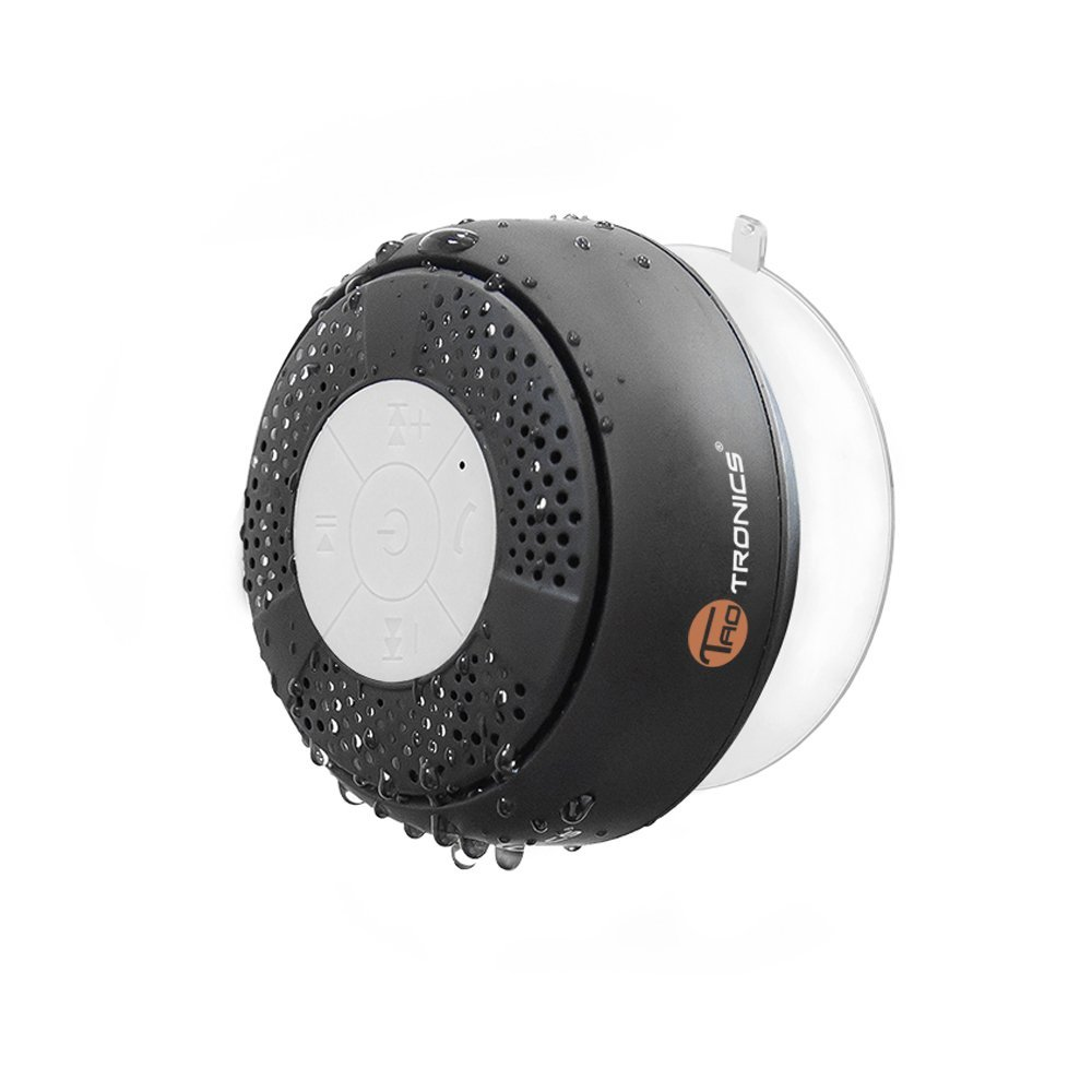 TaoTronics TT-SK03 Water Resistant Wireless Bluetooth Stereo Shower Speaker (Bluetooth 3.0, Hands-free, Built-in-Mic, A2DP/AVRCP) (1/2)