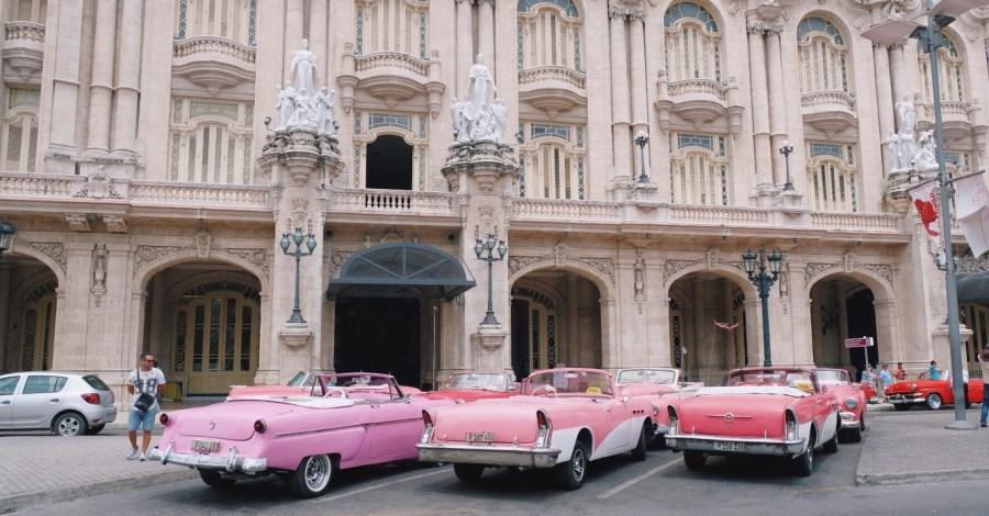pink classic cars in Havana Centro Cuba