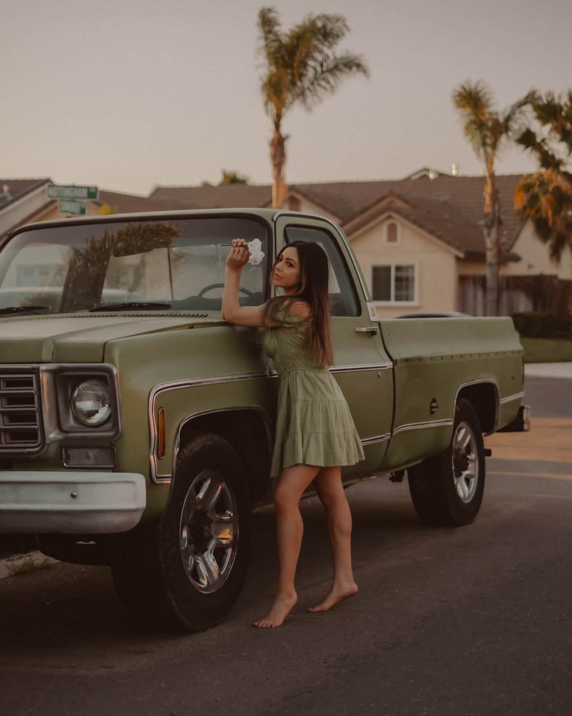 creative film photography of girl and retro truck