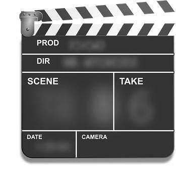clap cinéma noir et blanc