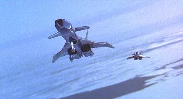 Les deux MiG-31 au-dessus de la glace