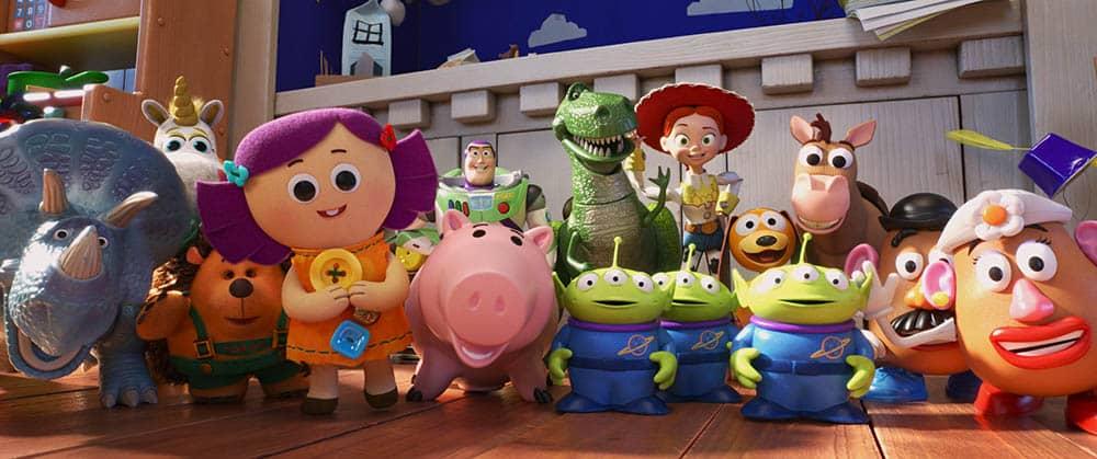 TOY STORY 4 - (L-R) Trixie, Buttercup, Mr. Pricklepants, Dolly, Buzz Lightyear, Hamm, Rex, Aliens, Jessie, Slinky Dog, Bullseye and Mr. and Mrs. Potato Head.