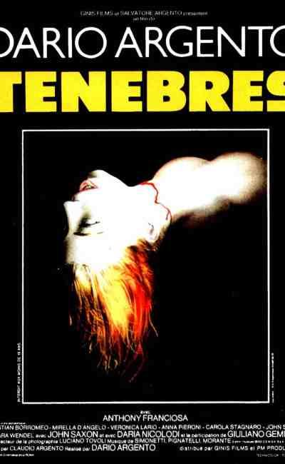 Affiche de Ténèbres, giallo de Dario Argento