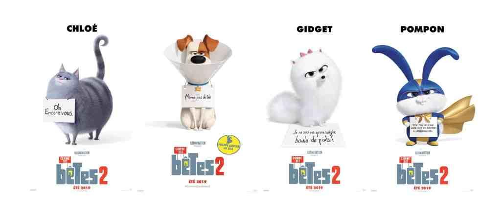 Quatre affiches personnages de Comme des bêtes 2