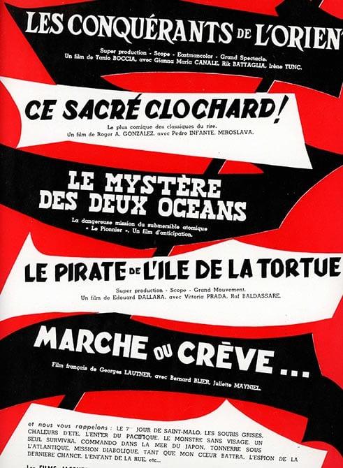 Line Up Les films Jacques Leitienne 1961