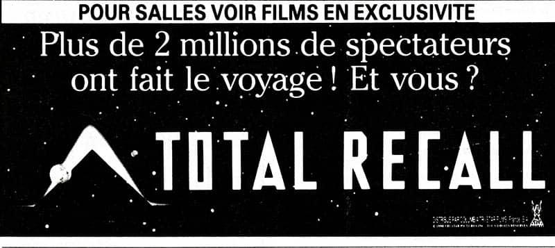 Total Recall affiche fièrement ses entrées, Pariscope 1990