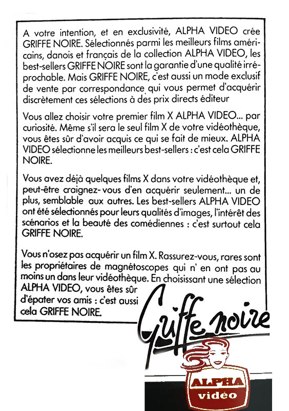 Griffe Noire Vidéo, Alpha France