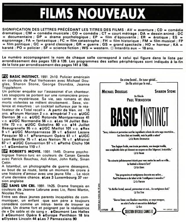Basic Instinct, les salles et les critiques, Pariscope, archives Frédéric Mignard
