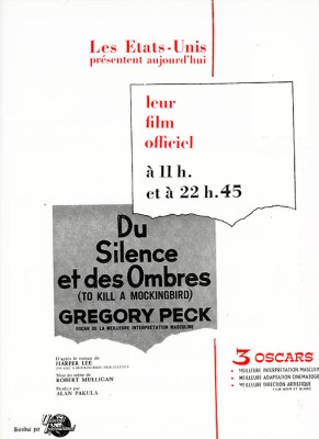 Page publicitaire cannoise Du Silence et des ombres, to kill a mocking bird