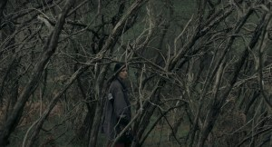 Woman is seen in the distance among bare tree branches.