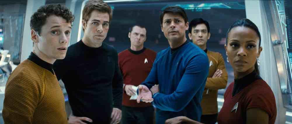 Pavel Chekov (Anton Yelchin), Kirk, Scotty (Simon Pegg), Dr. Leonard 'Bones' McCoy (Karl Urban), Hikaru Sulu (John Cho) and Nyota Uhura (Zoe Saldana)