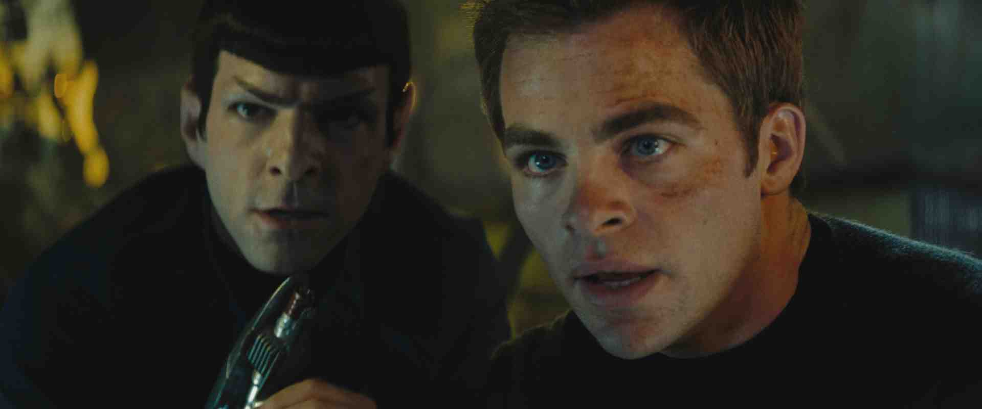 Spock (Zachary Quinto) and James T. Kirk (Chris Pine)