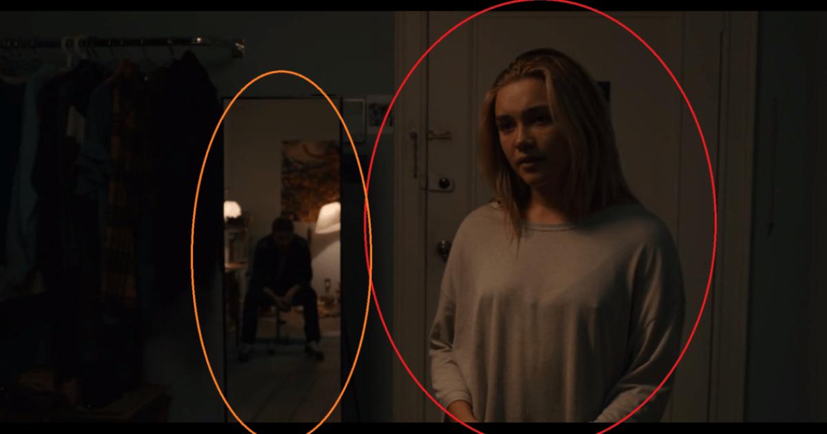 Dani está um pouco mais a frente em relação a imagem anterior e seu namorado ainda refletindo no espelho agora está de cabeça baixa.