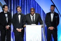 Producers Jeremy Kleiner, Anthony Katagas and Brad Pitt and McQueen accept the Darryl F. Zanuck Award for Outstanding Producer of Theatrical Motion Pictures for 12 Years a Slave onstage during the 25th annual Producers Guild of America Awards.