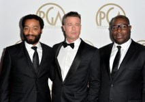 Chiwetel Ejiofor, Brad Pitt, and Steve McQueen arriving for the 25th annual Producers Guild of America Awards.