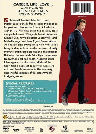 Mentalist season 7 DVD back cover rs