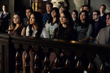"PRETTY LITTLE LIARS - ""I'm a Good Girl, I Am"" - It is the end of Alison's trial, and a surprise witness shows up leaving the girls shaken to the core in ""I'm a Good Girl, I Am,"" an all-new episode of ABC Family's hit original series ""Pretty Little Liars,"" premiering Tuesday, March 17th (8:00 - 9:00 PM ET/PT). (ABC Family/Eric McCandless) LUCY HALE, SHAY MITCHELL, TROIAN BELLISARIO"