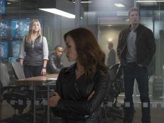 Black Widow (Scarlett Johansson), Sharon Carter (Emily VanCamp), Sam Wilson (Anthony Mackie) and Steve Rogers (Chris Evans) in 'Captain America: Civil War'