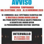 Notizia intervallo dal 26 Ottobre al 24 Novembre 2020