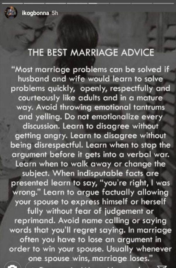 ik ogbonna wedding advice