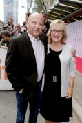 "Producer Christopher Meledandri and Producer Janet Healy seen at Universal Pictures ""Sing"" at the 2016 Toronto International Film Festival on Sunday, Sept. 11, 2016, in Toronto. (Photo by Eric Charbonneau/Invision for Universal Pictures/AP Images)"