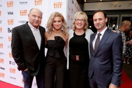 """Producer Christopher Meledandri, Tori Kelly, Producer Janet Healy and Mike Knobloch, President, Film Music and Publishing of Universal Pictures, seen at Universal Pictures """"Sing"""" at the 2016 Toronto International Film Festival on Sunday, Sept. 11, 2016, in Toronto. (Photo by Eric Charbonneau/Invision for Universal Pictures/AP Images)"""