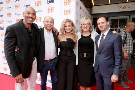 """Executive Music Producer Harvey Mason Jr., Producer Christopher Meledandri, Tori Kelly, Producer Janet Healy and Mike Knobloch, President, Film Music and Publishing of Universal Pictures, seen at Universal Pictures """"Sing"""" at the 2016 Toronto International Film Festival on Sunday, Sept. 11, 2016, in Toronto. (Photo by Eric Charbonneau/Invision for Universal Pictures/AP Images)"""