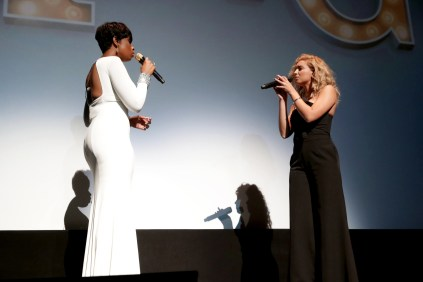 """Jennifer Hudson and Tori Kelly perform at Universal Pictures """"Sing"""" at the 2016 Toronto International Film Festival on Sunday, Sept. 11, 2016, in Toronto. (Photo by Eric Charbonneau/Invision for Universal Pictures/AP Images)"""