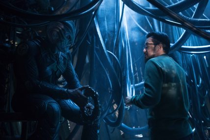 Left to right: Idris Elba and Director Justin Lin on the set of Star Trek Beyond from Paramount Pictures, Skydance, Bad Robot, Sneaky Shark and Perfect Storm Entertainment