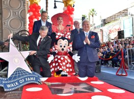 LOS ANGELES, CA - JANUARY 22: (L-R) Disney Chairman and Chief Executive Officer, Robert A. Iger, Katy Perry, Leron Gubler, Jeff Zarrinnam, and Vin Di Bona attend ceremony for Minnie Mouse as she receives Star on Hollywood Walk of Fame in Celebration of her 90th Anniversary at El Capitan Theatre on January 22, 2018 in Los Angeles, California. (Photo by Stefanie Keenan/Getty Images for Disney )