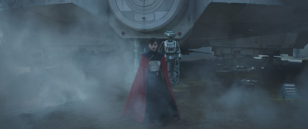 Emilia Clarke is Qi'ra and Phoebe Waller-Bridge is L3-37 in SOLO: A STAR WARS STORY.