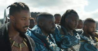 Marvel Studios' BLACK PANTHER L to R: Erik Killmonger (Michael B. Jordan) and W'Kabi (Daniel Kaluuya) with some of his border tribesman. Ph: Film Frame ©Marvel Studios 2018
