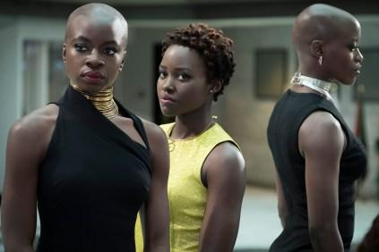 Marvel Studios' BLACK PANTHER L to R: Okoye (Danai Gurira), Nakia (Lupita Nyong'o) and Ayo (Florence Kasumba) Photo: Matt Kennedy ©Marvel Studios 2018