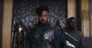 Marvel Studios' BLACK PANTHER L to R: Erik Killmonger (Michael B. Jordan) and W'Kabi (Daniel Kaluuya) Ph: Film Frame ©Marvel Studios 2018