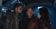 Marvel Studios' AVENGERS: INFINITY WAR..L to R: Thor (Chris Hemsworth), Star-Lord/Peter Quill (Chris Pratt) and Gamora (Zoe Saldana), b/g Drax (Dave Bautista)..Photo: Film Frame..©Marvel Studios 2018